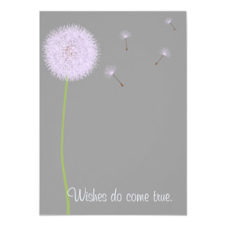 Dandelion Wishes For a Baby Shower in Purples 4.5x6.25 Paper Invitation Card