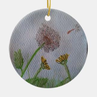 Dandelion Wishes on the Wind Round Ceramic Decoration