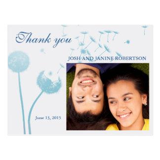 Dandelion Wishes Wedding on Soft Teal, Thank You Postcard