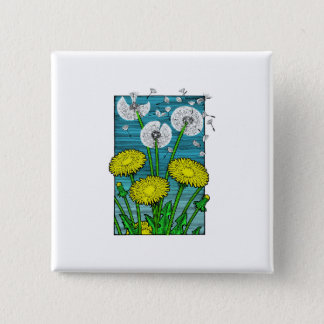 Dandelions 15 Cm Square Badge