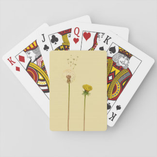 Dandelions, blowballs - yellow flowers playing cards