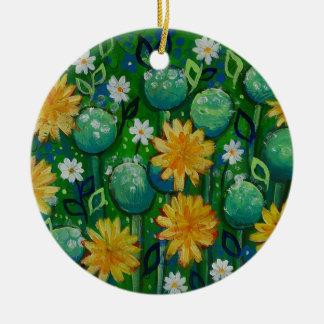 Dandelions, floral image, green christmas ornament