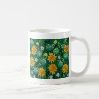 Dandelions, floral image, green coffee mug