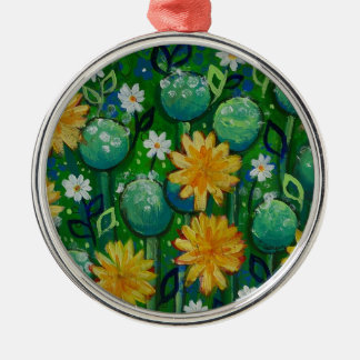 Dandelions, floral image, green Silver-Colored round decoration
