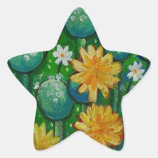 Dandelions, floral image, green star sticker
