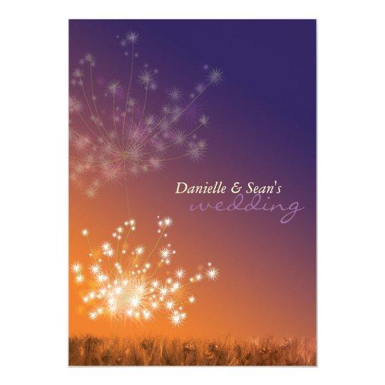 Dandelions in Sunset Orange Purple Floral Wedding Card