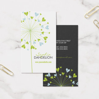 Dandelions Love Hearts Blue Wedding Profile Card