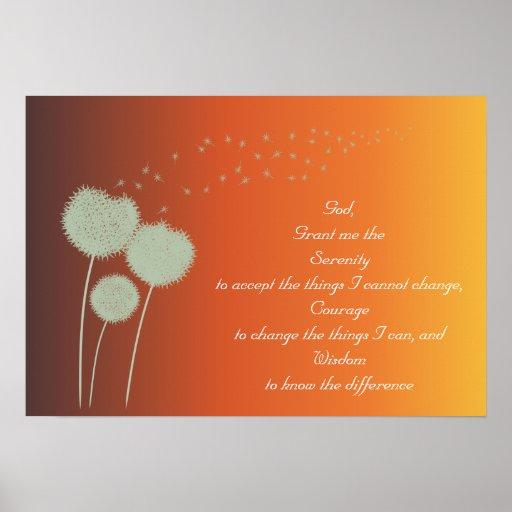 Dandelions Serenity Prayer Customisable Poster