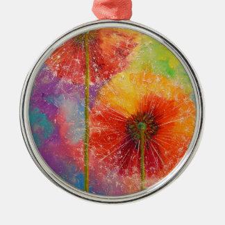 Dandelions Silver-Colored Round Decoration