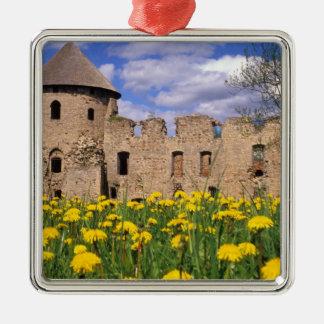 Dandelions surround Cesis Castle in central Christmas Ornament