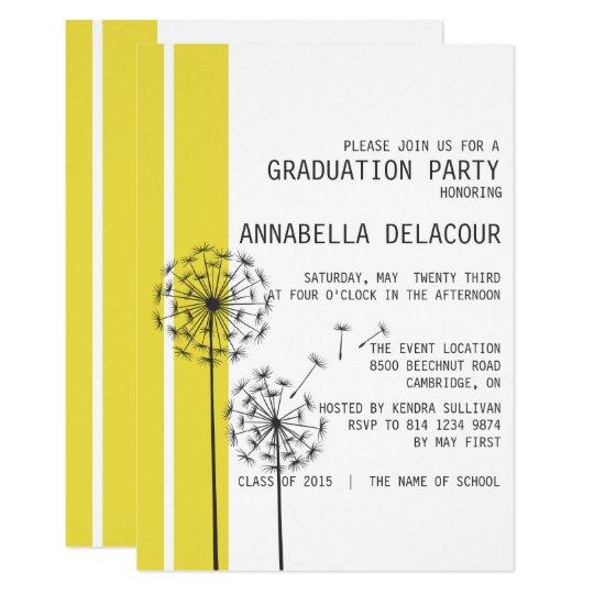 Dandelions Yellow Graduation Party Invitation