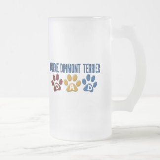 DANDIE DINMONT TERRIER Dad Paw Print 1 Frosted Glass Mug