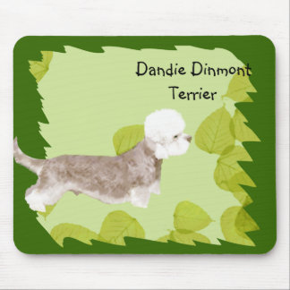 Dandie Dinmont Terrier ~ Green Leaves Design Mouse Pad