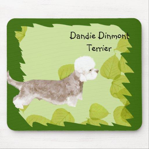 Dandie Dinmont Terrier ~ Green Leaves Design Mousepad