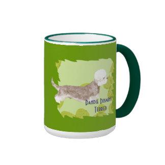 Dandie Dinmont Terrier ~ Green Leaves Design Mug