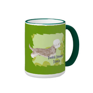Dandie Dinmont Terrier ~ Green Leaves Design Ringer Mug