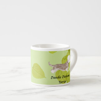 Dandie Dinmont Terrier ~ Green Leaves Design Espresso Mug