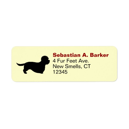Dandie Dinmont Terrier Silhouette Return Address Label