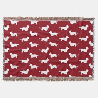 Dandie Dinmont Terrier Silhouettes Pattern Red