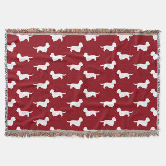 Dandie Dinmont Terrier Silhouettes Pattern Red Throw Blanket