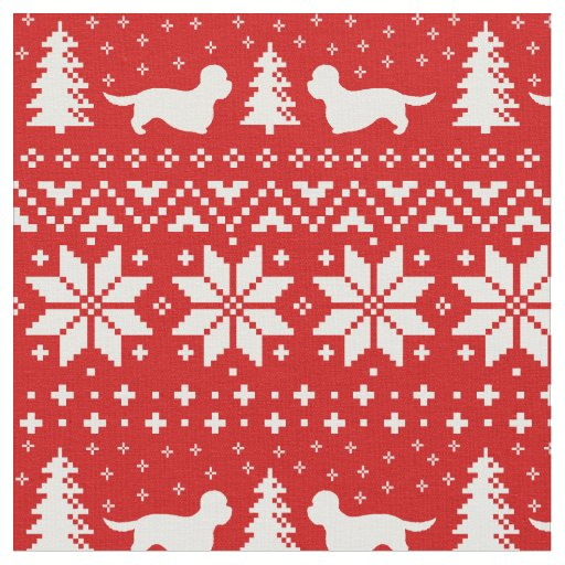 Dandie Dinmont Terriers Christmas Pattern Red Fabric