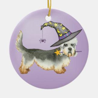 Dandie Witch Round Ceramic Decoration