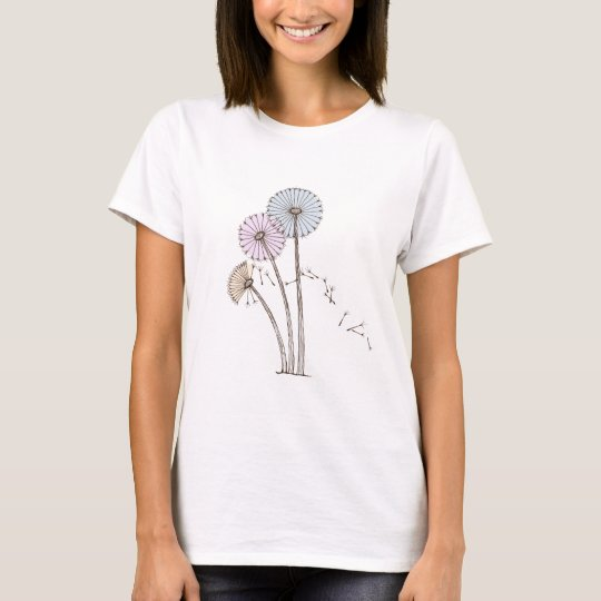 Dandilion Clocks Pink Blue and Cream T-Shirt