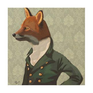 Dandy Fox Portrait Wood Wall Art