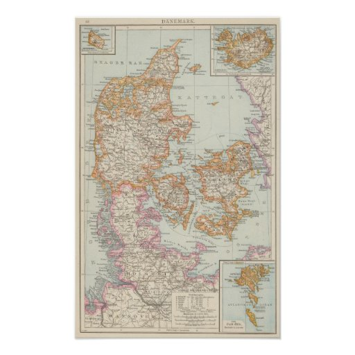 Danemark - Denmark Map Poster