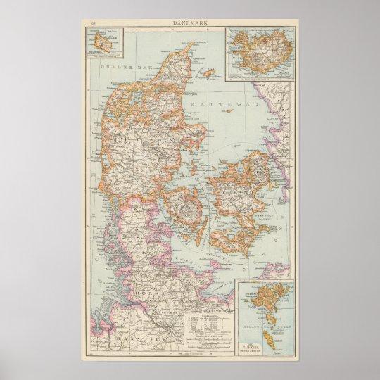Danemark - Denmark Map Poster