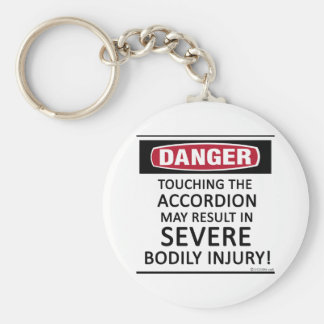 Danger Accordion Basic Round Button Key Ring