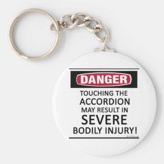 Danger Accordion Basic Round Button Key Ring