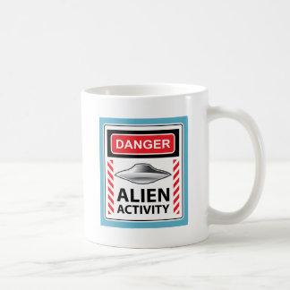 Danger Alien Activity Warning Sign Vector Basic White Mug