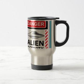Danger Alien Activity Warning Sign Vector Travel Mug