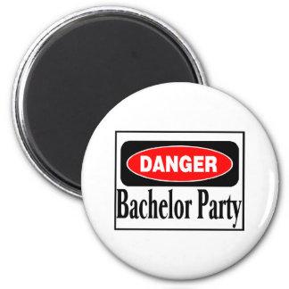 Danger Bachelor Party 6 Cm Round Magnet