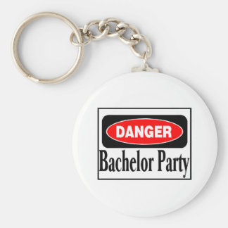 Danger Bachelor Party Basic Round Button Key Ring