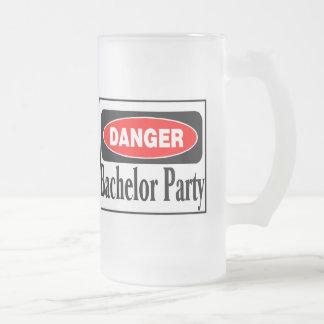 Danger Bachelor Party Frosted Glass Mug