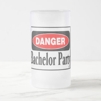 Danger Bachelor Party Frosted Glass Mug