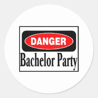 Danger Bachelor Party Round Sticker