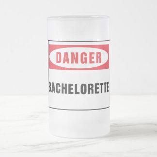 Danger bachelorette frosted glass mug