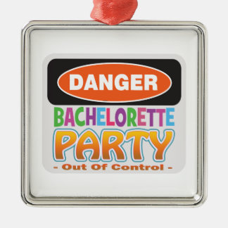 danger bachelorette party bridal shower crazy wild Silver-Colored square decoration