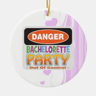 Danger bachelorette party funny bridal party christmas ornament