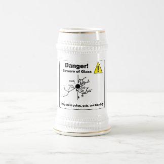 Danger - Beware of Glass Beer Steins