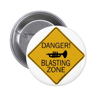 Danger Blasting Zone 6 Cm Round Badge