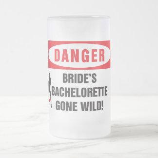 Danger bride's bachelorette gone wild! frosted glass mug