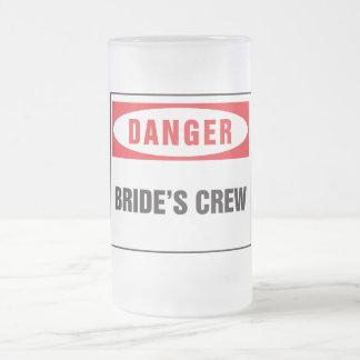 Danger bride's crew frosted glass mug