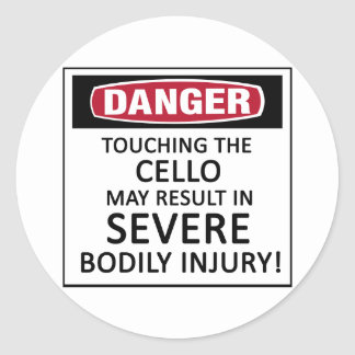 Danger Cello Round Sticker