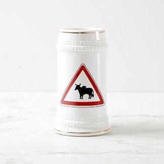 Danger Cows, Traffic Sign, Burkina Fasso Beer Steins