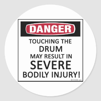 Danger Drum Round Sticker