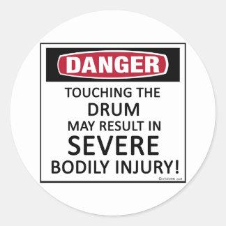Danger Drum Classic Round Sticker